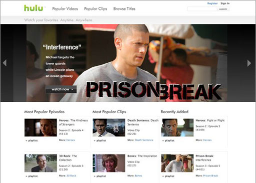 Hulu Home Page